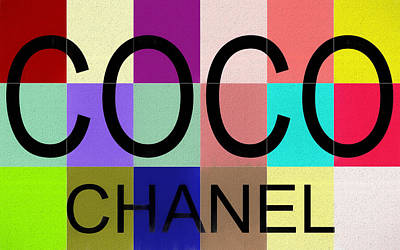 Actors Mixed Media - Colorful Coco Chanel Canvas by Dan Sproul