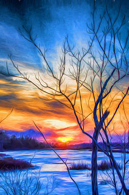 Digital Art - Colorful Cold Sunset by Beth Sawickie