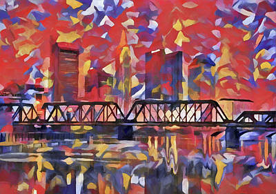 Painting - Colorful Columbus Skyline by Dan Sproul