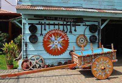 Colorful Costa Rican Oxcart With Wheels And Hardware Original