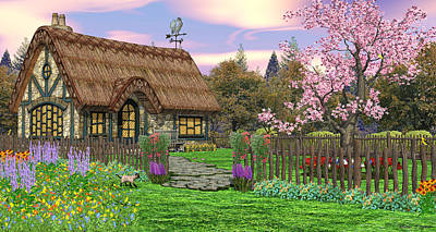 Digital Art - Colorful Country Cottage by Walter Colvin