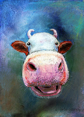 Cartoon Pastel - Colorful Cow  by Arline Wagner