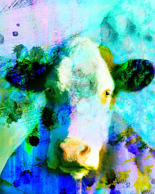 Digital Art - Colorful Cow Art  by Ann Powell