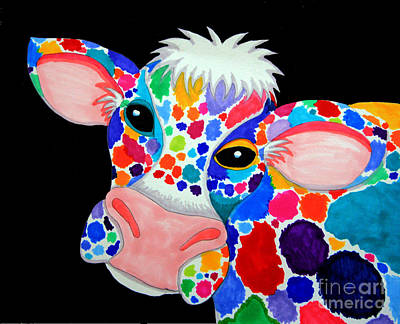 Colorful Cow Drawing - Colorful Cow by Nick Gustafson