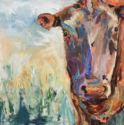 Painting - Colorful Cow Portrait by Donna Tuten