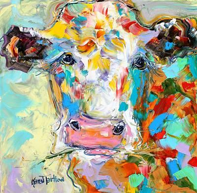 Steer Painting - Colorful Cow Portrait by Karen Tarlton