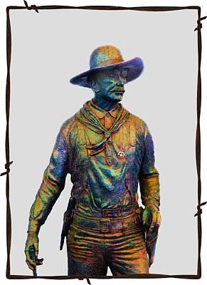 Photograph - Colorful Cowboy Sculpture by Ellen O'Reilly