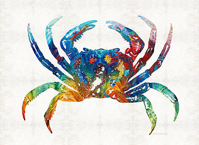 Color Painting - Colorful Crab Art By Sharon Cummings by Sharon Cummings