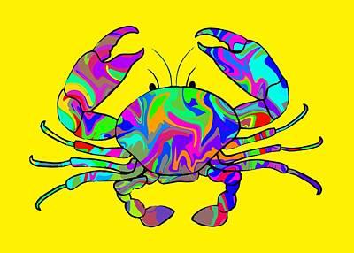 Rainbow Digital Art - Colorful Crab by Chris Butler
