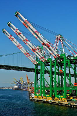 Colorful Cranes In San Pedro Harbor Art Print by Kirsten Giving