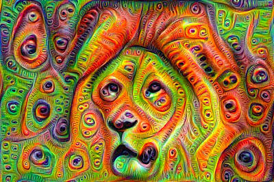 Mixed Media - Colorful Crazy Lion Deep Dream by Matthias Hauser