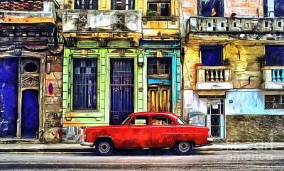 Print featuring the painting Colorful Cuba by Edward Fielding