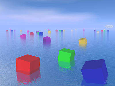 Floating Box Digital Art - Colorful Cubes Floating - 3d Render by Elenarts - Elena Duvernay Digital Art