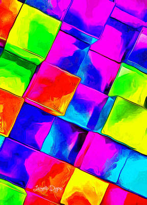 Textured Painting - Colorful Cubes by Leonardo Digenio