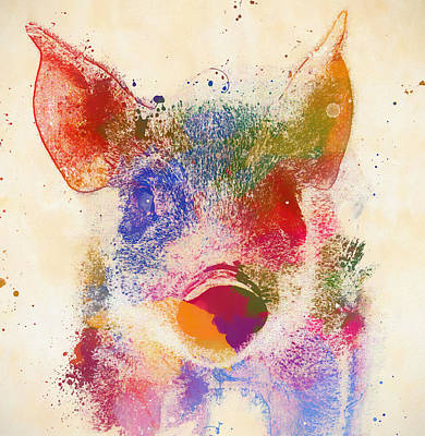 Painting - Colorful Cute Pig by Dan Sproul