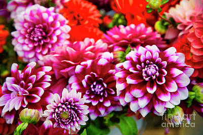 Photograph - Colorful Dahlias At The Farmer's Market by Bruce Block
