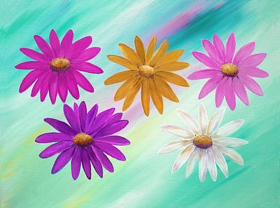 Mixed Media - Colorful Daisies by Elizabeth Lock