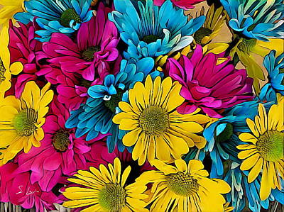 Photograph - colorful daisies Neo-pop art flowers by S Art