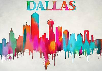 Colorful Dallas Skyline Silhouette Art Print by Dan Sproul