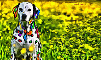 Puppy Painting - Colorful Dalmatian 20 - Pa by Leonardo Digenio