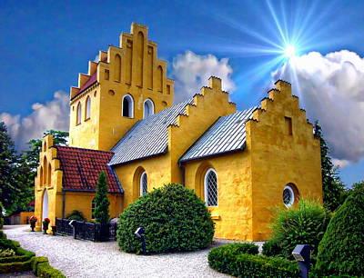 Digital Art - Colorful Danish Church by Anthony Dezenzio