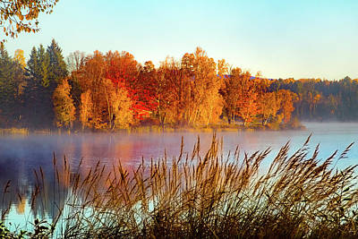 Photograph - Colorful Dawn On Haley Pond by Jeff Folger