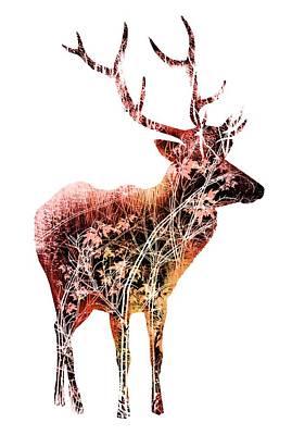 Colorful Deer Art  Art Print by Diana Van
