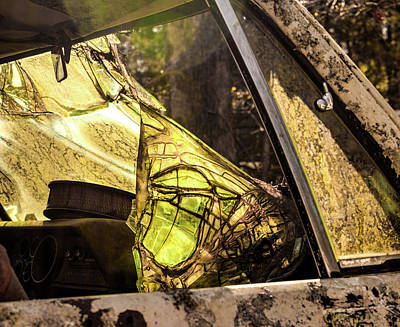 Photograph - Colorful Deteriorating Vehicle Windshield by Douglas Barnett