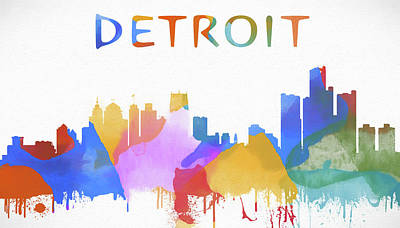 The Main Mixed Media - Colorful Detroit Skyline by Dan Sproul