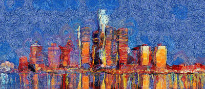 Painting - Colorful Detroit Skyline Reflection by Dan Sproul