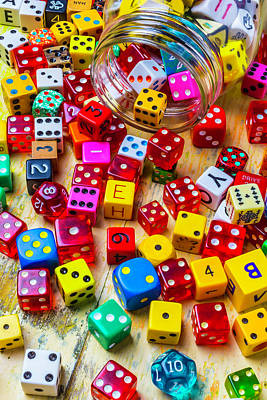 Colorful Dice Spilling From Jar Art Print
