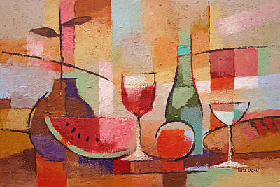Stillife Painting - Colorful Dining by Lutz Baar