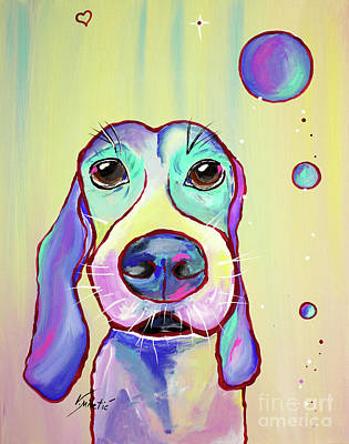 Portraits Painting - Colorful Dog Art By Valentina Miletic by Valentina Miletic