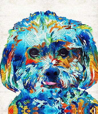 Custom Dog Art Painting - Colorful Dog Art - Lhasa Love - By Sharon Cummings by Sharon Cummings