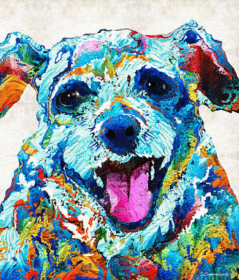 Custom Dog Art Painting - Colorful Dog Art - Smile - By Sharon Cummings by Sharon Cummings
