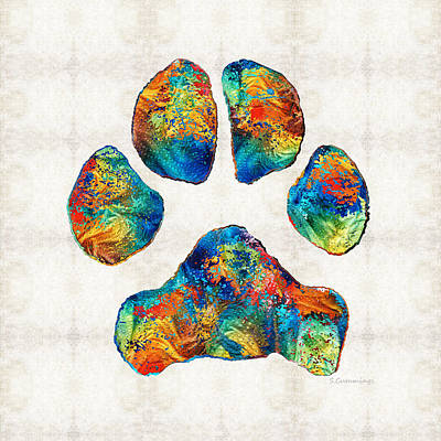 Grief Painting - Colorful Dog Paw Print By Sharon Cummings by Sharon Cummings