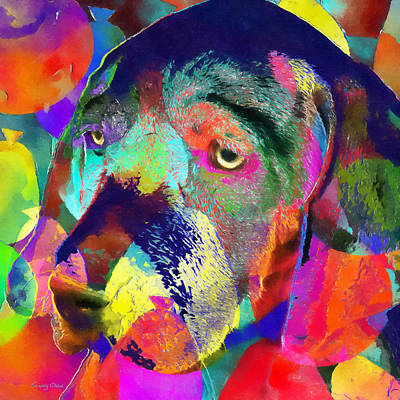 Watercolor Pet Portraits Mixed Media - Colorful Dog by Stacey Chiew
