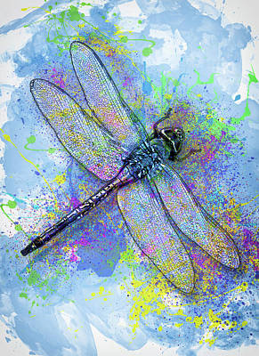 Dragonflies Mixed Media - Colorful Dragonfly by Jack Zulli