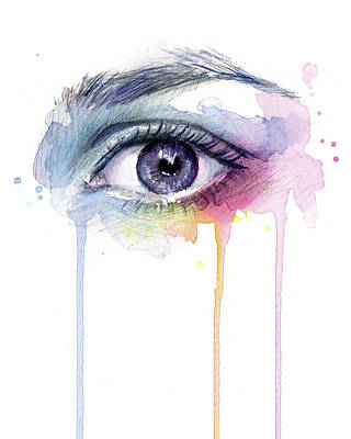 Surreal Painting - Colorful Dripping Eye by Olga Shvartsur