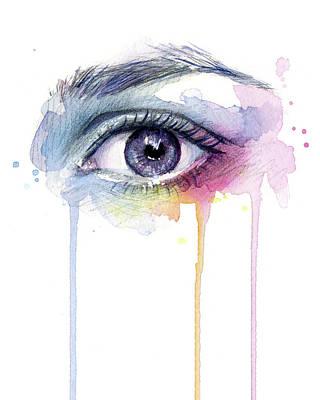 Drip Painting - Colorful Dripping Eye by Olga Shvartsur