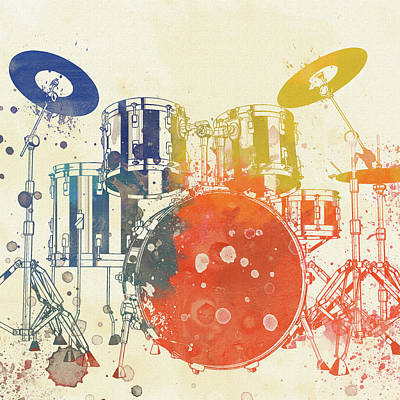 Music Paintings - Colorful Drum Set by Dan Sproul