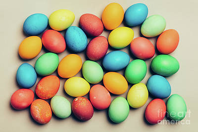 Photograph - Colorful Eggs On A Creamy Background. by Michal Bednarek