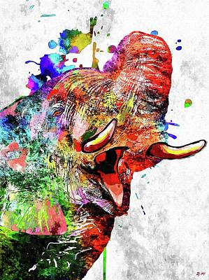 Mixed Media - Colorful Elephant by Daniel Janda