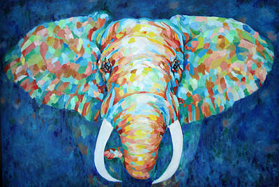 Painting - Colorful Elephant by Enzie Shahmiri