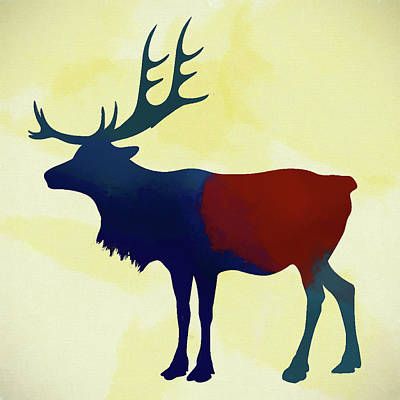 Teton Mixed Media - Colorful Elk by Dan Sproul