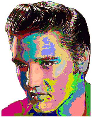 Painting - Colorful Elvis Presley by Samuel Majcen