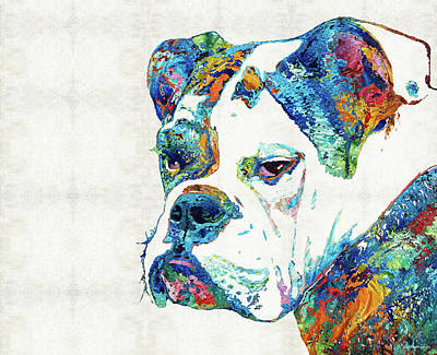 Colorful English Bulldog Art By Sharon Cummings Art Print