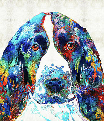 Hunters Painting - Colorful English Springer Spaniel Dog By Sharon Cummings by Sharon Cummings