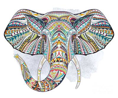 Painting - Colorful Ethnic Elephant by Aloke Creative Store