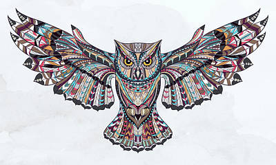 Painting - Colorful Ethnic Owl by Aloke Creative Store
